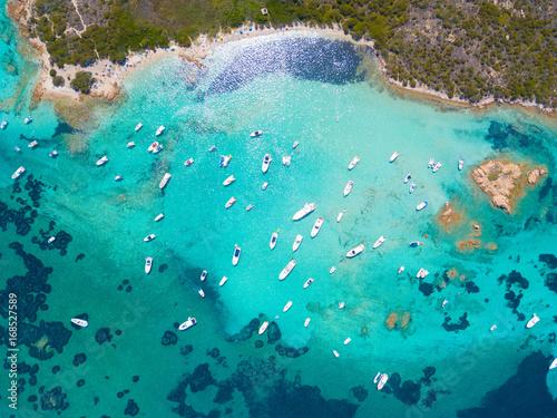 Fényképezés  Top view of boats in Sardinia.