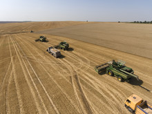Combines In The Plowing Up To The Wheat