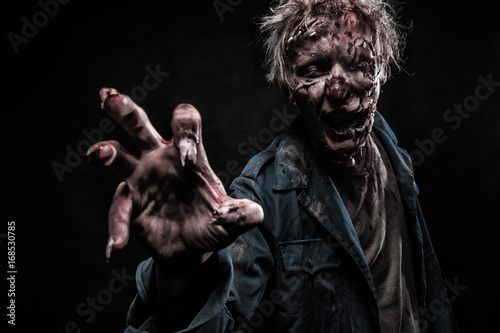 Bloody zombie man with brains out horror halloween Canvas Print