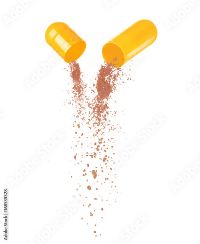 Fotografie, Obraz  Open medical pill close-up isolated on white background