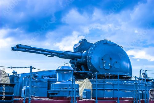 Fototapeta Automatic gun. Gun against aviation. The ship's gun.