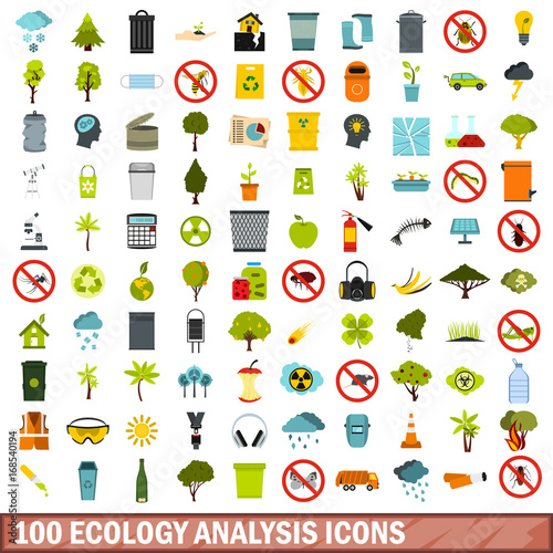 Fotografie, Obraz  100 ecology analysis icons set, flat style