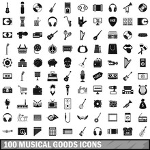 100 Musical Goods Icons Set, S...