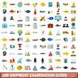100 shipment examination icons set, flat style