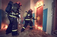 Firemans Team During Firefighting
