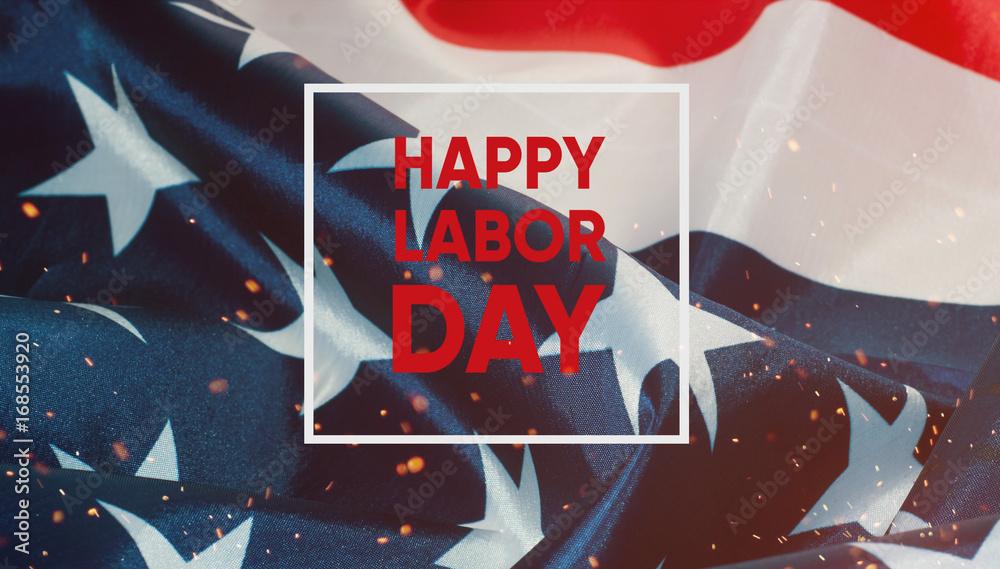 Fototapeta Happy labor day banner.American Patriotic background.