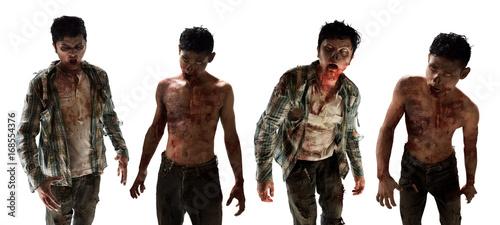 Scary zombies on white background Billede på lærred