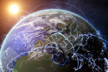 3D rendered illustration of Earth and connected cities. Global network and globalization concept.
