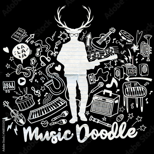 In de dag Muziekband Hipster deer with a guitar and cool eye glasses .Hand drawing Doodle,vector illustration.