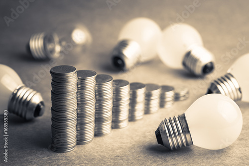 Fotografie, Obraz  Coins Stair and Small Light Bulbs