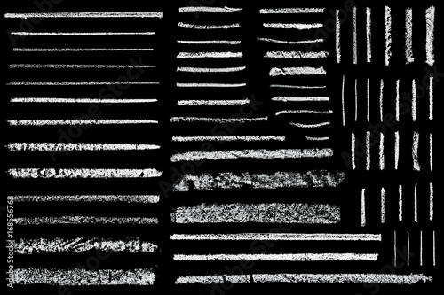 Stampa su Tela set of hand drawn chalk lines isolated on black background
