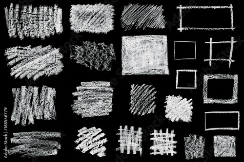 set of hand drawn chalk frames isolated on black background Wallpaper Mural