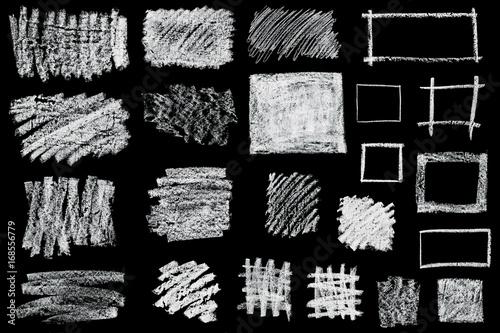set of hand drawn chalk frames isolated on black background Fototapete