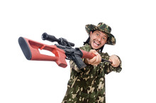 Soldier With Weapons Isolated ...