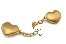 Two Gold Hearts With Broken Ch...
