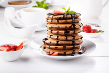 Stack Of Chocolate Pancakes Wi...