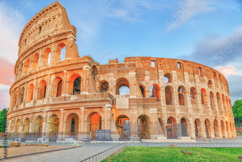 Beautiful landscape of the Colosseum in Rome- one of wonders of the world  in the evening time Canvas Print
