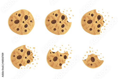 Fotografía  Bitten  chip cookie vector illustration set