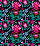 wzór z kwiatów i liści w stylu ludowym, etniczne wzornictwo. - 168568354