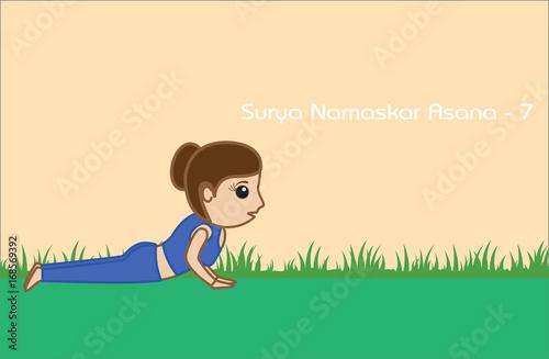Yoga Cartoon Vector Pose Surya Namaskar Asana Step 7 Buy This Stock Vector And Explore Similar Vectors At Adobe Stock Adobe Stock