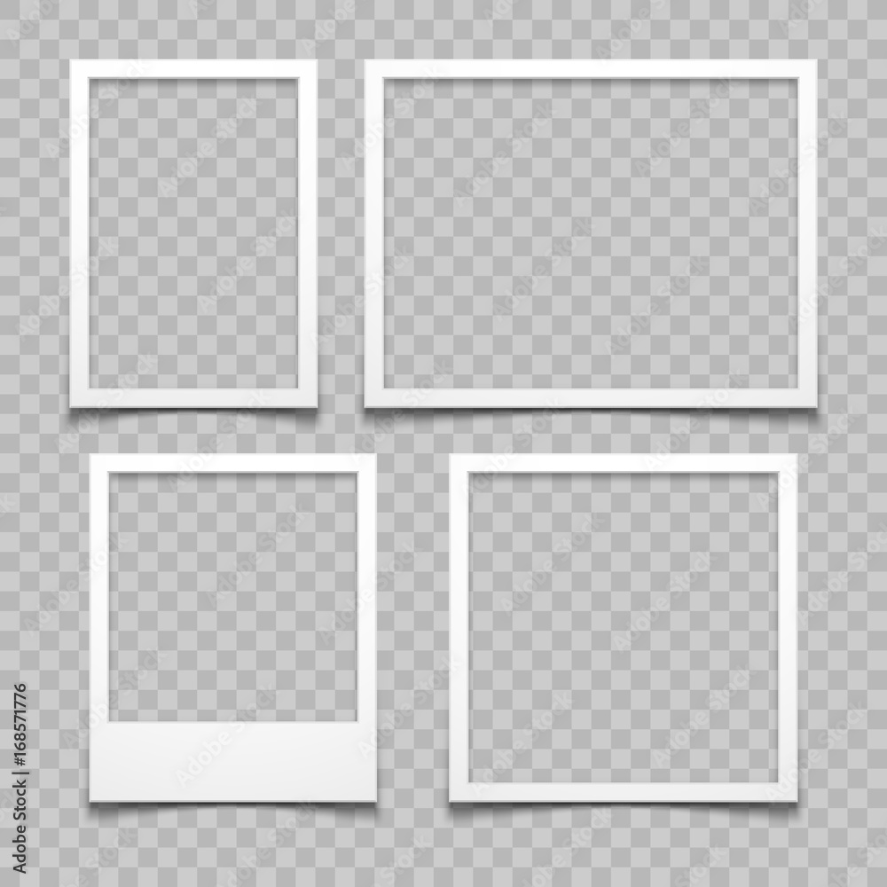 Fototapeta Photo frames with realistic drop shadow vector effect isolated. Image borders with 3d shadows - obraz na płótnie