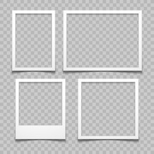 Photo Frames With Realistic Drop Shadow Vector Effect Isolated. Image Borders With 3d Shadows