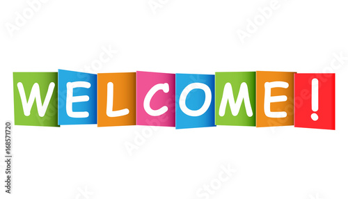 Welcome colorful card. Vect...