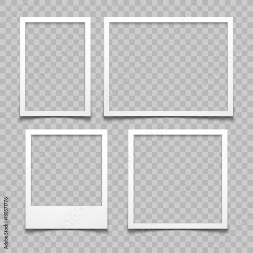 Photo frames with realistic drop shadow vector effect isolated. Image borders with 3d shadows Wall mural