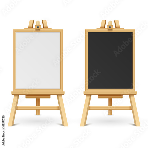 School black and white blank boards on easel vector illustration Canvas Print