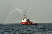 Fireboat, Pumps A Stream Of Wa...