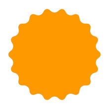 Gold / Orange Smooth Burst, Badge, Seal Or Label Flat Vector Icon For Apps And Websites