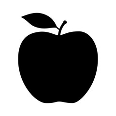 Fototapeta Apple fruit with leaf flat vector icon for food apps and websites