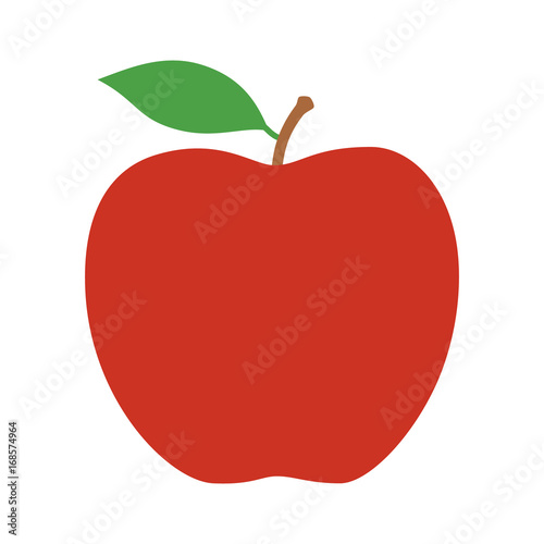 Fotomural Red delicious or Fuji apple fruit with leaf flat vector icon for food apps and w