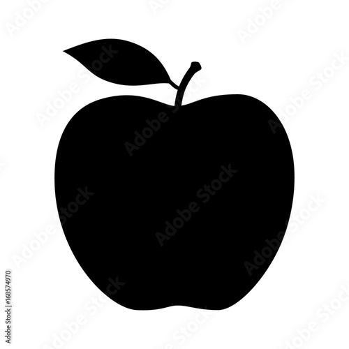 Valokuva  Apple fruit with leaf flat vector icon for food apps and websites