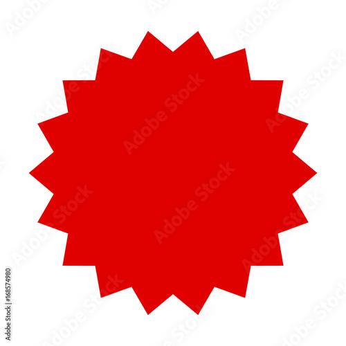Fotografie, Obraz  Red starburst, burst, badge, seal or label flat vector icon for apps and website