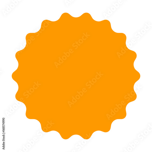 Fotografie, Obraz  Gold / orange smooth burst, badge, seal or label flat vector icon for apps and w