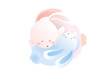 soft cute rabbit couple sleep hug illustration vector