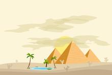 Egyptian Pyramids, Near An Oas...