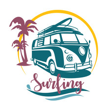 Surfing Camper Stylized Symbol...