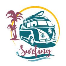 Surfing Camper Stylized Symbol...
