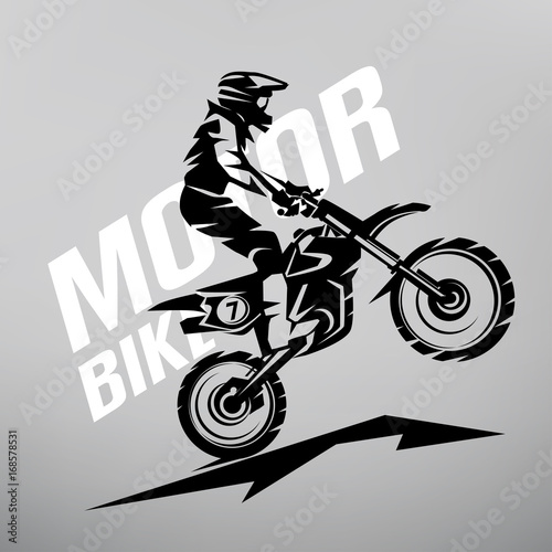 Motocross Stylized Vector Symbol Design Elements For Logo Template