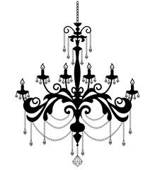 black sihouette of chandelier