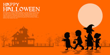 Composition Of Silhouette Children In The Halloween Night