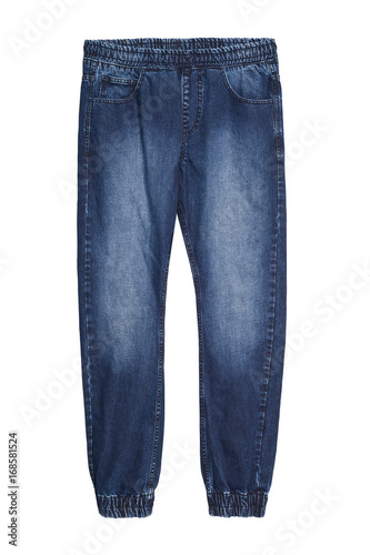 Blue baggy jeans denim pants with elastic isolated on white Canvas Print
