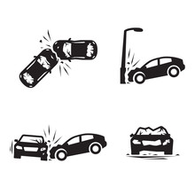 Crashed Cars Vector Car Eccident Icons Set