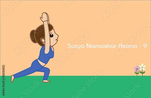 Yoga Cartoon Vector Pose Surya Namaskar Asana Step 9 Buy This Stock Vector And Explore Similar Vectors At Adobe Stock Adobe Stock