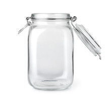 Opened Empty Glass Jar Isolate...