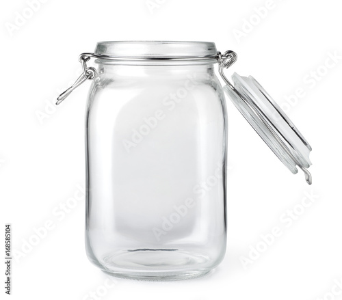 Fotografija Opened empty glass jar isolated on a white background