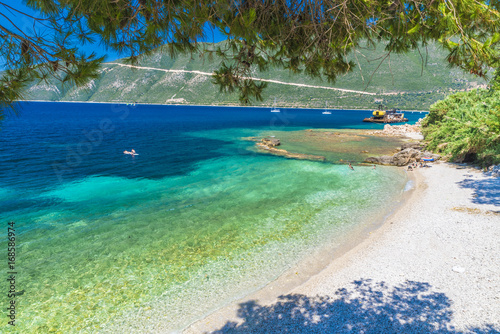 Papiers peints Olive Little beach in Vasiliki town, Lefkada island, Greece.
