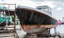 Rusty Hull In Dry Dock